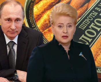 Путин и Грибаускайте на фоне шпрот