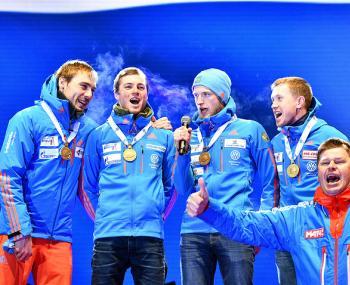 Команда по Биатлону спела Гимн России