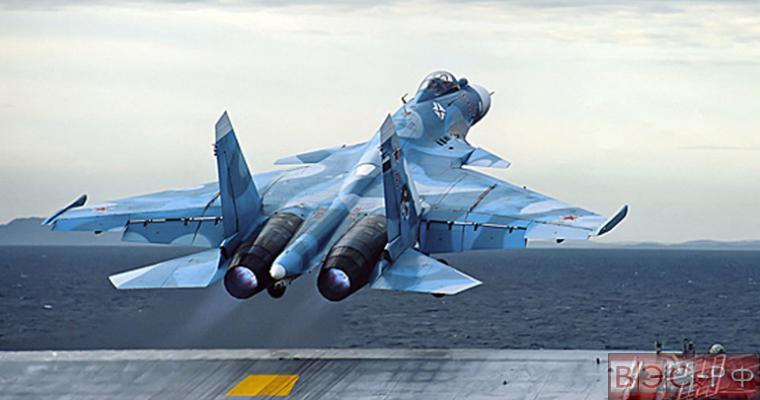 Су-33 взлетает с палубы крейсера