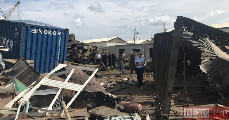 Место взрыва на металлобазе в Чите