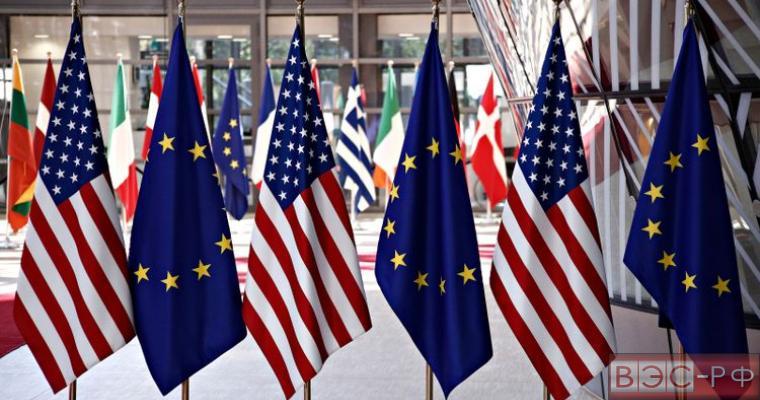 государственные флаги ЕС и США
