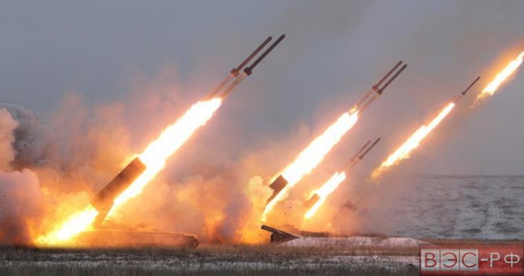 """залп из ракетной системы """"Солнцепек"""" ТОС - 1А"""