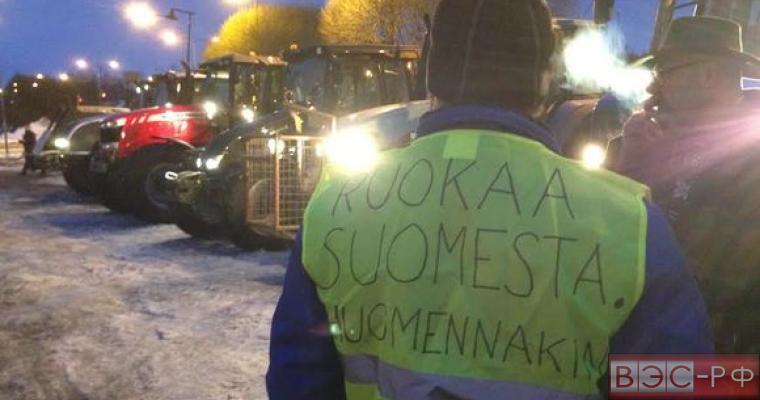 Акция протеста фермеров в Финляндии